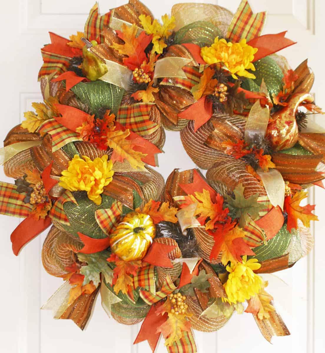 Deco Mesh Autumn Leaves Wreath